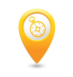 Compass icon on map pointer yellow vector