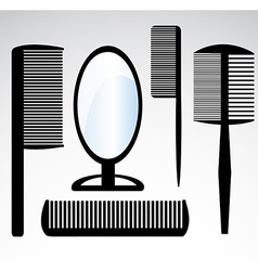 Collection beauty hair salon or barber comb vector