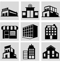 Buildings stores and home icon set vector