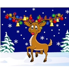 Deer with christmas lamp vector