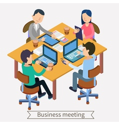 Business meeting and teamworking isometric vector