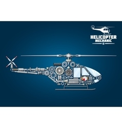 Silhouette of mechanical detailed helicopter vector
