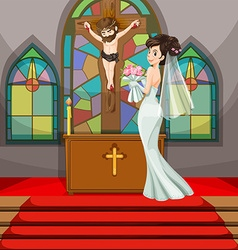 Bride at wedding in the church vector