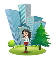 A woman outside the big buildings vector