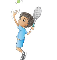 A young boy playing tennis vector image vector image