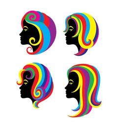 Beauty Rainbow Hair Woman vector image vector image