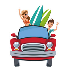 Cartoon character travelers with vintage car with vector