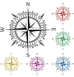 Colorful compasses vector