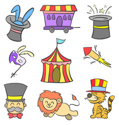 Doodle of circus colorful hand draw vector