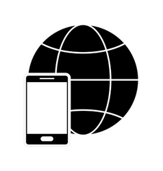 earth globe diagram and cellphone icon vector image