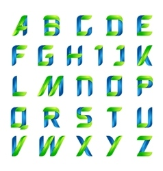 Ecology english alphabet letters green and blue vector image vector image