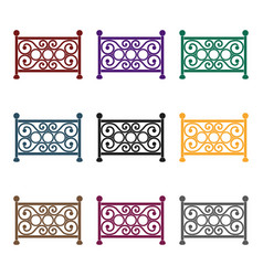 fence icon in black style isolated on white vector image