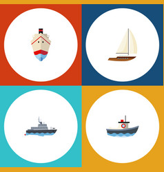 flat icon vessel set of transport ship delivery vector image