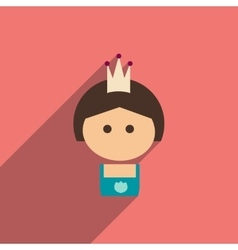 Flat icon with long shadow girl princess vector