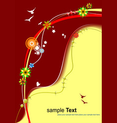 Floral red-yellow background invitation card vector