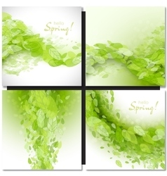 Fresh spring green grass leaves frame vector image