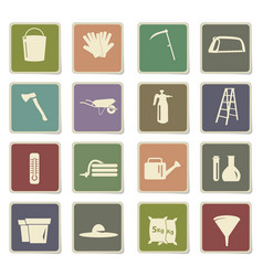 Garden tools icon set vector