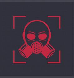 Gas mask respirator icon biohazard symbol vector