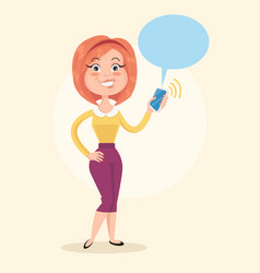 happy smiling woman character hold smartphone vector image