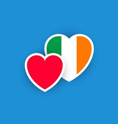 Irish flag in the shape of heart vector