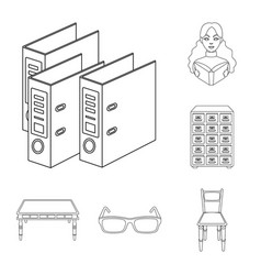 Library and bookstore outline icons in set vector