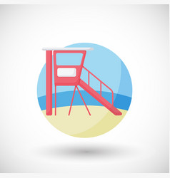 Lifeguard station flat icon vector