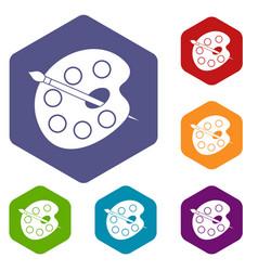 palette icons set hexagon vector image