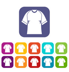 Raglan tshirt icons set flat vector