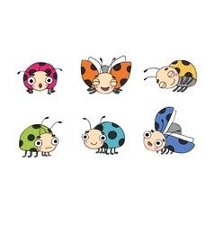 Set of ladybugs vector image vector image