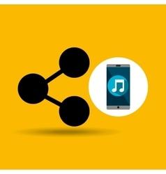 Smartphone music online share vector