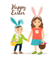 Spring people in easter costumes vector