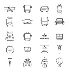 transport signs black thin line icon set vector image vector image