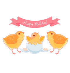 Two funny cartoon chick congratulations newborn vector