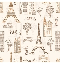 Vintage Brown Paris Streets Travel Seamless vector image vector image