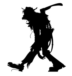walking zombie silhouette3 vector image vector image