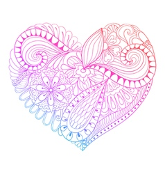 Zentangle heart painting for adult anti stress vector