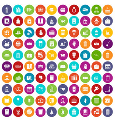 100 box icons set color vector