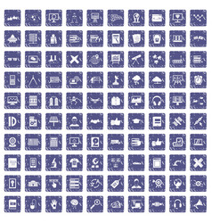 100 education technology icons set grunge sapphire vector