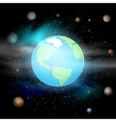 Blue planet against universe solar system earth vector