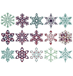 Collection of patch snowflakes easy to change vector