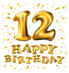 12th birthday celebration with gold balloons and vector image