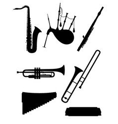 Wind musical instruments set icons black outline vector