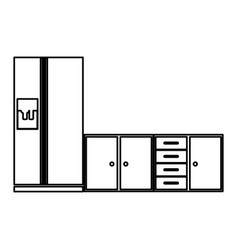 monochrome contour of lower kitchen cabinets with vector image