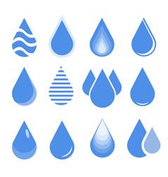 water drop set blue drop buttons vector image