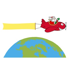 Santa flying plane cartoon vector