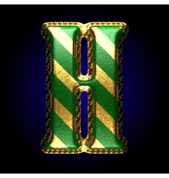Golden and green letter h vector