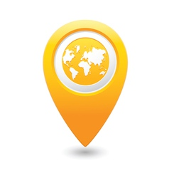 Earth icon on map pointer yellow vector
