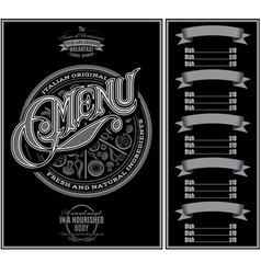 pattern for menu pizza over black background vector image