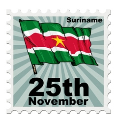 Post stamp of national day of suriname vector