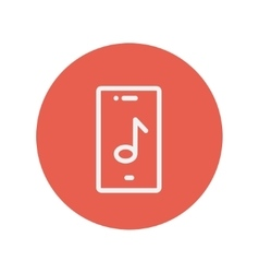 Phone with musical note thin line icon vector